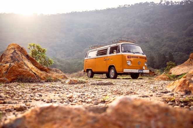low angle photo of volkswagen kombi